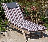 Hambiente Auflage Sonnenliege waschbar mit Reißverschluss ca. 198 x 60 cm in grau rot gestreift VE87