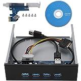 ASHATA Driver per CD-Rom USB 3.0 da Pannello Frontale da 5,25 Pollici a 4 Porte Hub da PCI-E a 4 interfacce Pannello Frontale