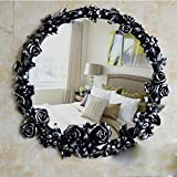 ZI LING SHO- Pastoral Roses Badezimmer Spiegel Retro Wand hängende Kleidering Eingang Spiegel American Antique WC Schönheit Wasserdichte Waschen Make-up Spiegel (Farbe : Black Painted Silver)