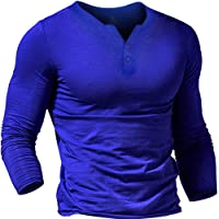 Muscle Alive Men Summer Casual Short Sleeve Henleys T-Shirt Single Button Placket Plain v Neck Shirts Cotton