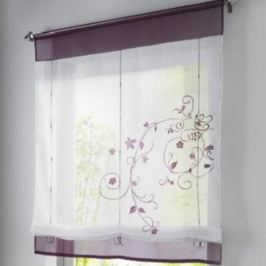 Dekoration schlafzimmer lila  Amazon.de: Souarts Lila Stickblume Gardine Raffgardinen Vorhang ...