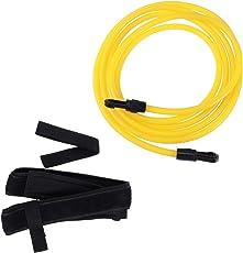 VORCOOL Swimming Resistance Belt Swim Training Band Swim Elastic Exerciser Belt with One Waist Strapk One Loop One Mesh Bag (Yellow)