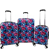 BEBE Women's Tina 3pc Spinner Suitcase Set, Blue Pink Lily