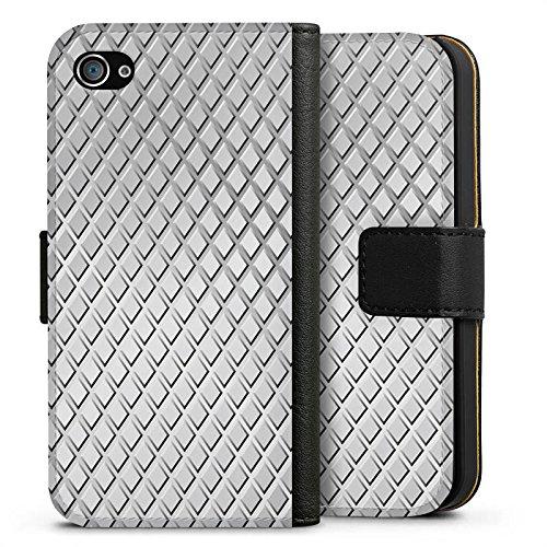 Apple iPhone X Silikon Hülle Case Schutzhülle Stahl Rauten Muster Sideflip Tasche schwarz