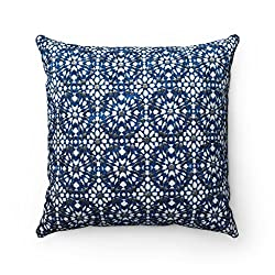 Moroccanity Moroccan Luxury Designer Jacquard Chenille Geometric Pattern Tiles Scatter Cushion Pillow Cover - Teal Blue & Gold - 18