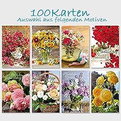 100 Glückwunschkarten Geburtstag Blumensträuße 11,5 x 17,5