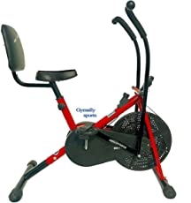 Gymally Sports Stamina Air Bike Exercise Cycle Moving Handle with Back Support (Red)