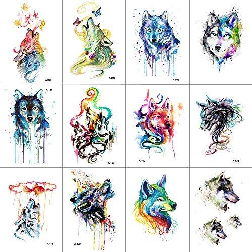 WYUEN 12 Teile/los Wolf Temporäre Tattoo Aufkleber für Frauen Männer Mode Körperkunst Erwachsene Wasserdichte Hand Gefälschte Tatoo 9,8X6 cm W12-12