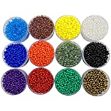 eshoppee Seed Beads for jewelery Making Set of 12 Colours , 20Gm X 12, Art and Craft Making DIY do it Yourself Project kit.