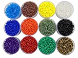 #4: eshoppee Seed Beads for jewelery Making Set of 12 Colours , 20Gm X 12, Art and Craft Making DIY do it Yourself Project kit.