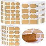 Étiquettes Kraft Autocollant Papier Kraft Auto-Adhésif Autocollants Kraft Vierges DIY Étiquettes pour Bouteilles, Pots Mason