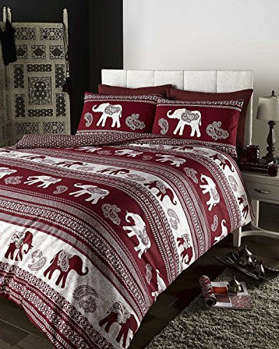 Stylish 'Empire' Super King Size Bed Duvet Cover And Pillow Cases Bedding Set – With Beautiful Indian Elephant Motif Detailing – In 3 Fabulous Colours And 4 UK Standard Bed Sizes (Wine)
