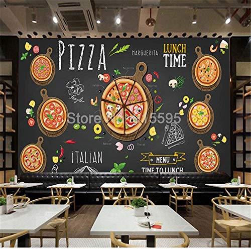 Carta Da Parati Murale AdesivoMuralepersonalizzato Fotomurale Pizza Shop Dipinto A Mano Astratto Pizza 3D Foto Wallpaper Cafe Negozio Di Dolci Western Restaurant Wall Painting, 200 * 140Cm