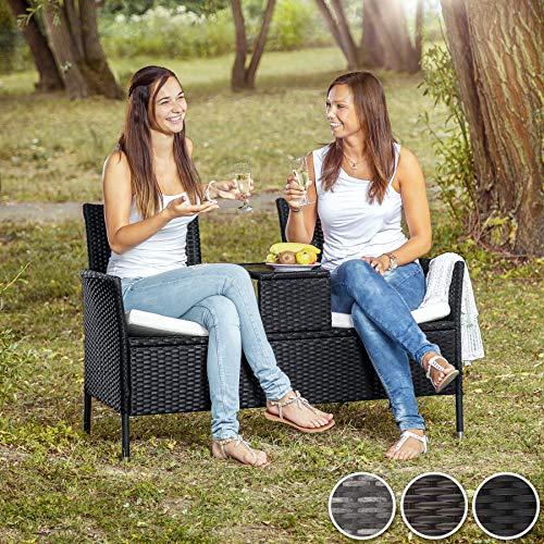 TecTake Sitzbank mit Tisch Poly Rattan Gartenbank Gartensofa inkl. Sitzkissen schwarz braun - 2