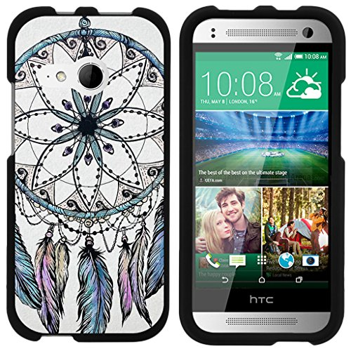 ibel für HTC One M8Mini Schutzhülle | One Mini 2| One Remix [Slim Duo] Zwei Stück Hard Cover Slim Snap auf Fall auf Schwarz -, Dreamcatcher Feathers ()