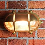 Außenwandlampe Messing Maritim Glasschirm Käfig IP64 Schiffslampe Außenleuchte Robust Hauswand Balkon - 5