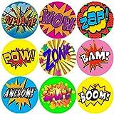 144 Superhero Action Words - Comic Themed Teacher Reward Stickers - Size 30mm