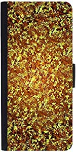 Snoogg Gold Wave 2441 Graphic Snap On Hard Back Leather + Pc Flip Cover Lg G2