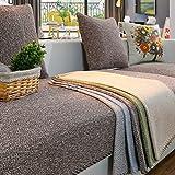 YANGYAYA Abschnittal Sofa Decken,Sofa-Handtuch abdeckungen,Sofa-Protector-Baumwoll-leinen Anti-rutsch dekorative Sofa Cover werfen setzt für Wohnzimmer kissenhülle-Brown 90x180cm(35x71inch)