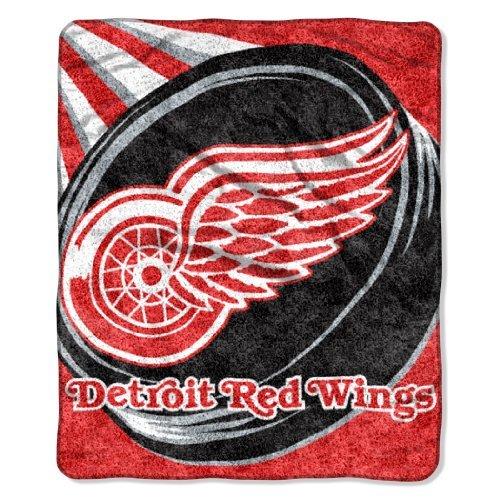 Northwest NHL Detroit Redwings 50-inch-by-60-inch Sherpa auf Sherpa Überwurf Decke Puck Design
