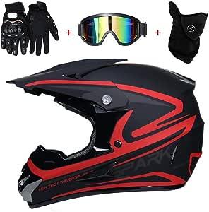 Tkui Motorrad Helm Motocross Rot Helme City Helme Bmx Helme Motorrad Crosshelme Kreative Persönlichkeit Lokomotive Mountainbike Helm Handschuhe Maske Brille L 56 57cm Sport Freizeit