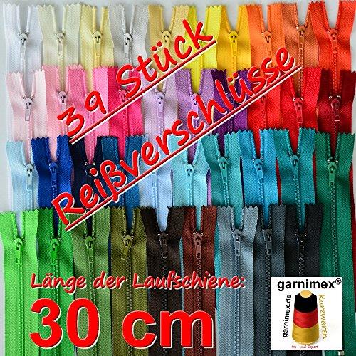 39 Reißverschlüsse sortiert 30 cm lang - 25 mm breit - spiral - in 39 Farben - garnimex®