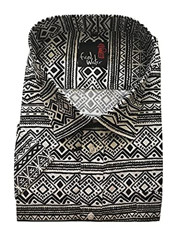 Mens Short Sleeve Retro Aztec Print Summer Reg/Big Size Shirts M-5XL CottonBlend (L, WHITE/BLACK)