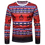 KPILP Herren Rundhals Mode Herbst Winter Casual African Indian Print Dashiki Langarm Top Bluse Shirt Pullover(Rot, XL)