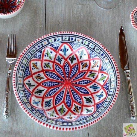 Lot de 6 assiettes creuses Bakir rouge - D 24 cm