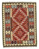 CarpetFine: Kelim Afghan Teppich 92x119 Braun,Rot - Geometrisch