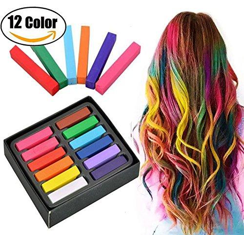 Haar-Kreide,temporäre Haarfarbe,Pastel Haar Kreide,mit 12 Farben für Karneval, Weihnachten, Partys