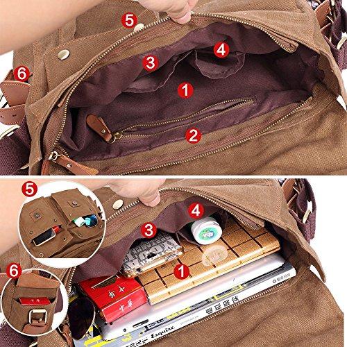 KAUKKO Herren Retro Messenger Tasche Wandern Brusttasche Umhängetasche Grau Khaki01