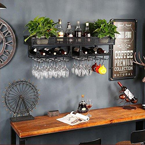 TUNBG Wand-weinregal Retro industriellen Wind kopfüber glashalter Dekoration kreative hängen Hause Display Rack hängen doppel Grid, Black