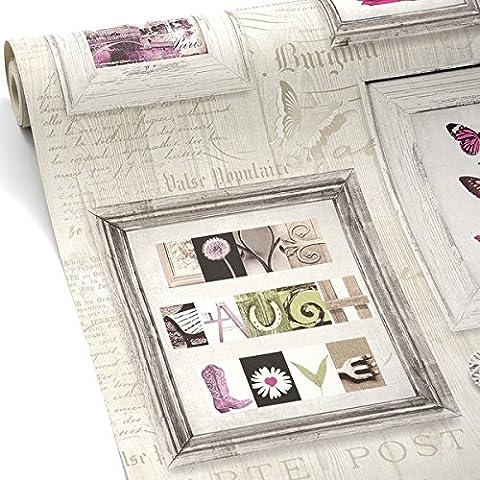 Papier Peint Muriva - Rose/Gris/Taupe Pâle - 131501 - Live Laugh Love - Cadres Coeurs Papillons (1 Unité)