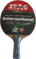 Stag International Table Tennis Racket + TT Bat Cover + 5 TT Balls