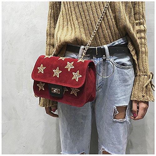 LETTER®Printing Damenmode Velour Handtasche Crossbody Schultertaschen Rot
