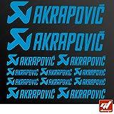 Brett 12Sticker Aufkleber Akrapovic Auspuff Anlage–Hellblau–Sticker, selbstklebend, Motorrad, Bike, Kit, Deco, Tuning, Decal, gt-design, GT Design, gtdesign