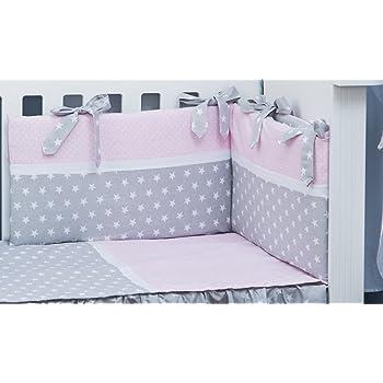 ULLENBOOM ® Tour de lit bébé Gris Rose /(180x30 cm Contour de lit ...
