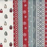 Bundle de telas - 6 telas (Colección Alpes - rojo) - colección de telas de coordinación (pequeños diseños) | 100% algodón | cada pieza 46 x 56 cm