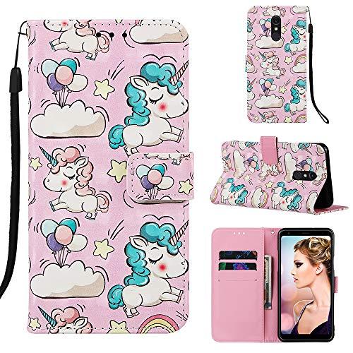 Changjin Schutzhülle für LG Stylo 5, Leder, strapazierfähig, Brieftaschen-Hülle mit Ständer Kartenfächern, Handgelenkschlaufe, PU-Leder für Männer und Frauen, Pink Pony