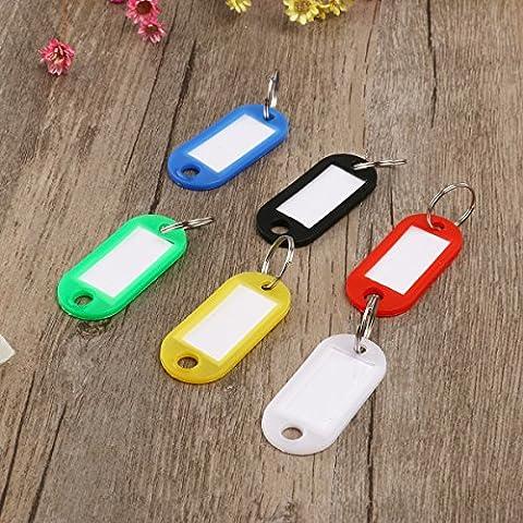 30Stück Schlüssel Ring Schlüsselanhänger Schlüsselschilder Tags Schild Schlüsselkasten mit Etiketten Gepäck Tags Kunststoff (zufällige Farbe)