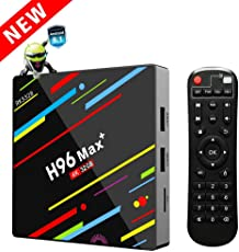 H96 Max+ TV Box Android 8.1 mit RK3328 Quad-Core 64 Bits CPU 4GB RAM 32GB ROM TV Box mit 4K Ultra HD H.265 Ethernet 10M/100M 2.4GHz Wifi