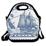 Clipart Bluenose Canadian Stamp Insulated Lunch Bag - Neoprene Lunch Bag - Large Reusable Lunch Tote Bags For Women, Teens, Girls, Kids, Baby, Adults Portable Carry