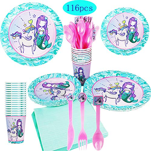 Lieferungen von Parteien, Servieren Sie 16 Party Teller, Tassen, Servietten und Besteck für Kinder Mädchen Geburtstag Sleepover Party Baby Shower ()
