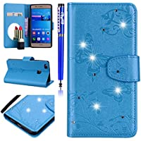 EUWLY Lederhülle Huawei P9 Lite Handyhülle Bling Glitzer Strass 3D Schmetterling Blumen Bookstyle Schutzhülle Brieftasche Wallet Flip Case Cover Leder Tasche Klapphülle,Blau