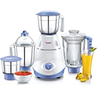 Prestige Iris 750 Watt Mixer Grinder with 3 Stainless Steel Jar + 1 Juicer Jar (White and Blue)