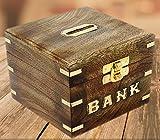 SKAVIJ Holzbox Quadratisch Sparbüchse Spardose Handgemacht Sparschwein Zum Geburtstag Holzbox