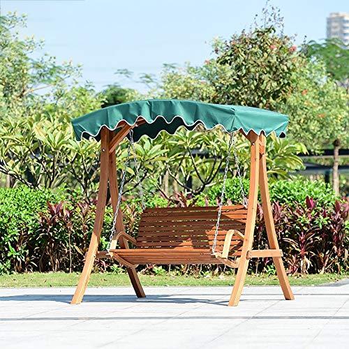 ZDYLM-Y Hollywoodschaukel Gartenschaukel 2 Sitzer aus Holz Holz im Freien Schaukel Stuhl-Sitz, für Außenterrasse (Grün)