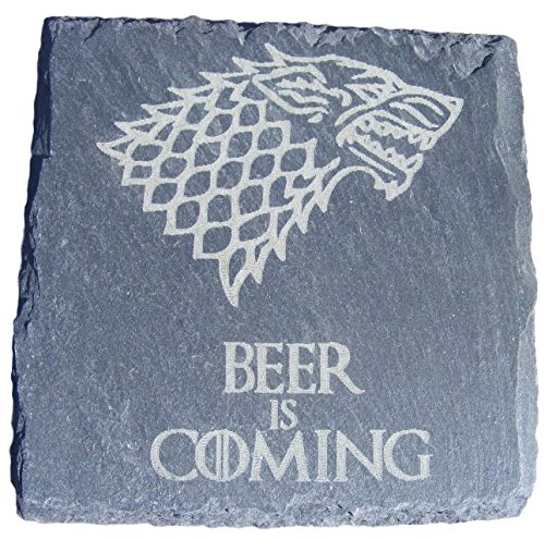 FastCraft Game of Thrones inspiriert Untersetzer für Getränke, Matte mit Geburtstagsgeschenk Hochzeit Geschenkidee für kommt mit Bier, Schiefer, 1 Stück
