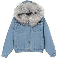 FRAUIT Giacca Jeans Donna Corta con Interno in Pile Invernali Giacche con Pelo Ragazza Vintage Parka Invernale con…